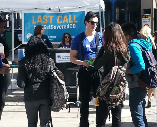 "The Colorado HealthOP did a ""last call"" for health care event on Denver's 16th Street Mall in March. (Photo courtesy Colorado HealthOP.)"