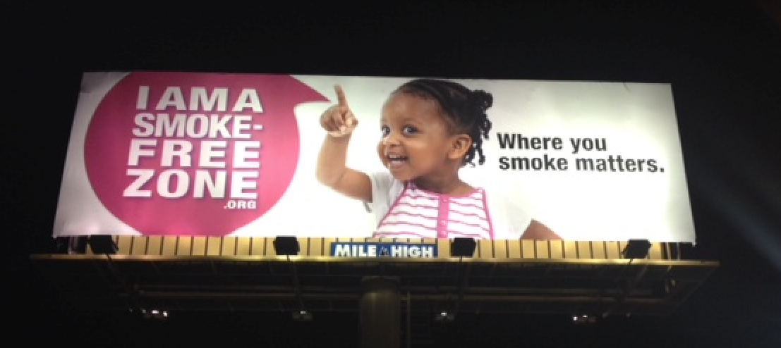 "A billboard from the ""I am a Smoke-Free Zone"" campaign resonated with kids and adults."