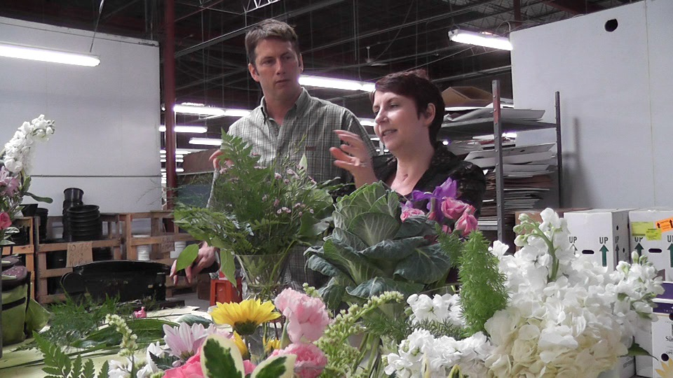 Denise and John at flower warehouse