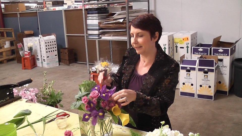 Denise arranging flowers