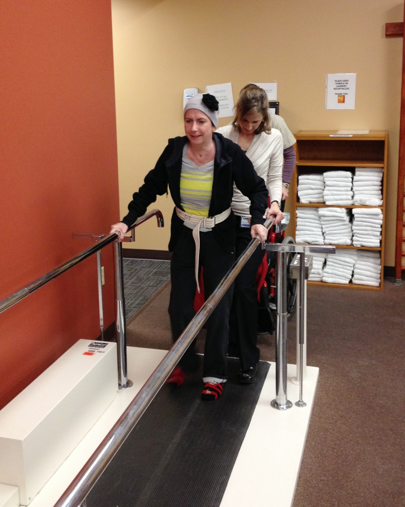 Denise had to learn to walk again by taking one step at a time. Here, she works with her orthopedic clinical specialist, Janet Incitti. (Photo courtesy John Capelli.)