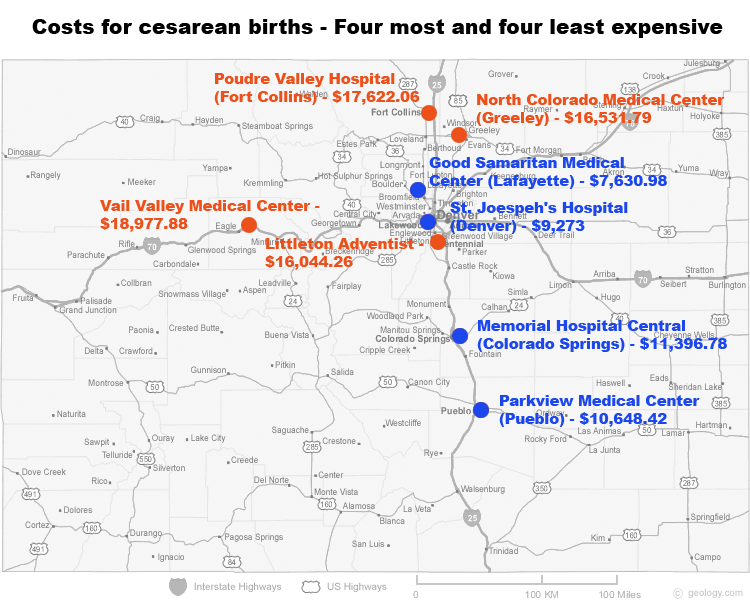 The prices for cesarean births for patients with private health insurance were highest in 2012 in Vail, Littleton and northern Colorado. By comparison, reimbursements for Medicaid patients who have c-sections are much lower: between $4,000 and $10,000. (Map by Eric Howell - Health News Colorado.)