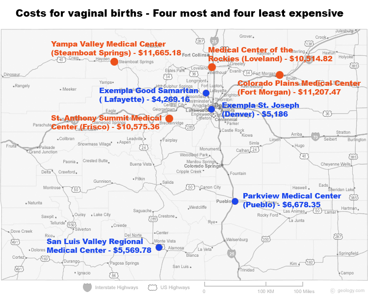 Ski resort towns and hospitals in northern Colorado had the highest median prices for vaginal births in 2012. Hospitals in Lafayette, Denver, Pueblo and the San Luis Valley had lower prices. (In Lafayette and Denver, fees for Kaiser doctors could elevate the price by about.) Map by Eric Howell - Health News Colorado.