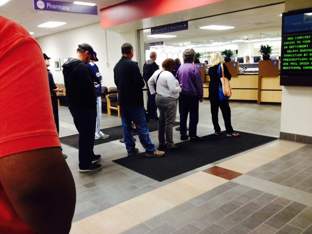 Pharmacy lines have gotten longer and longer as Kaiser has added more new members like me. (Photo by Donna Smith.)