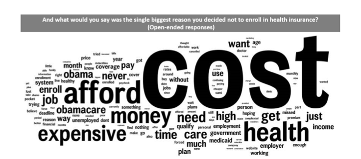 A word cloud from a new report on enrollments shows the overwhelming reason people cite for not getting health insurance. Source: Project Report: Culture of Coverage.