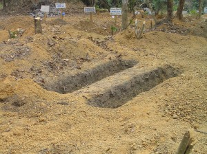 Graves are readied for victims of Ebola in Sierra Leone (Photo by Dr. David Cohn)