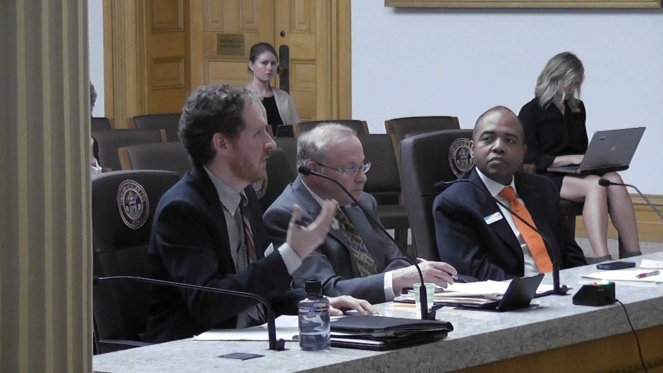 Jeff Bontrager, left, of the Colorado Health Institute, Richard Cauchi of the National Conference of State Legislatures and Kevin Patterson, Interim CEO of Connect for Health Colorado testified before the legislature's exchange oversight committee Wednesday.
