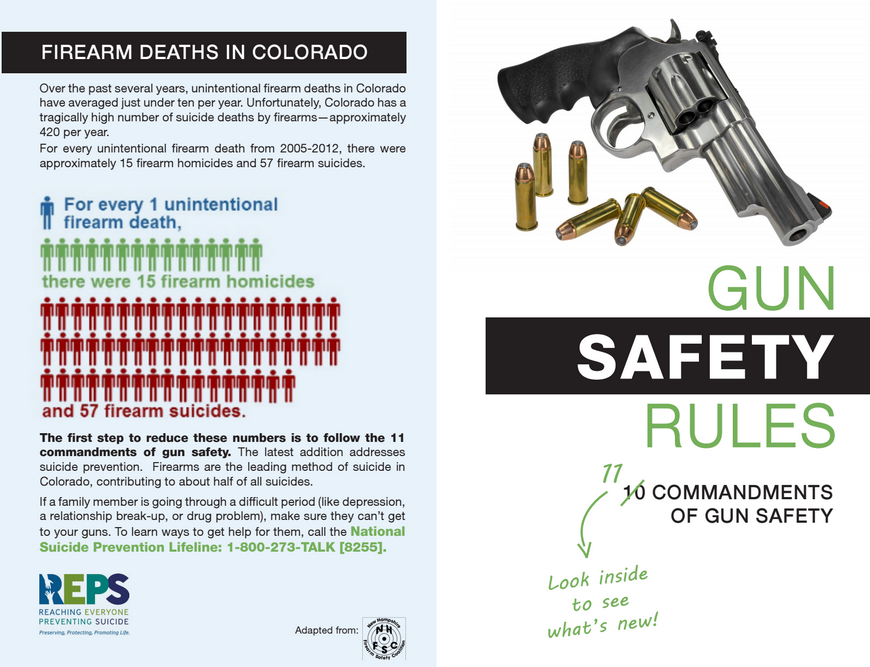 Excerpt from a brochure that gun and pawn shops and shooting ranges are sharing with customers in western Colorado. Courtesy of the Office of Suicide Prevention at the Colorado Department of Public Health and Environment.