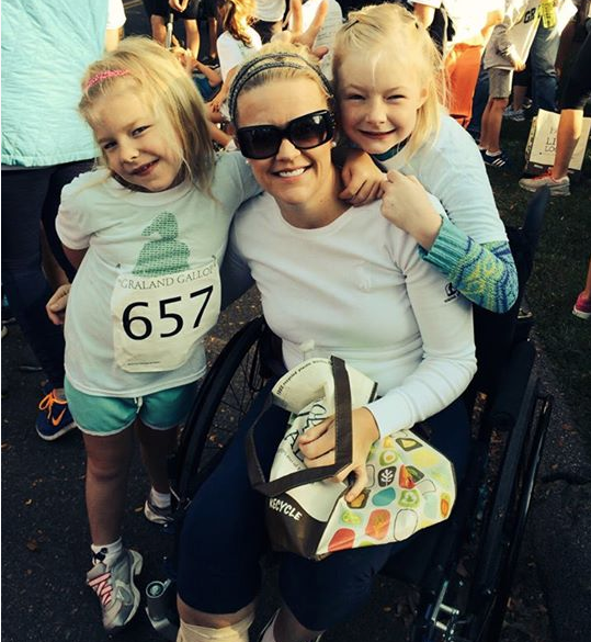 Jessica Peck, with her two daughters, ages 10 and 7. The divorced mom and lawyer has fought to keep working despite two severe illnesses that make her feel like an 80-year-old.
